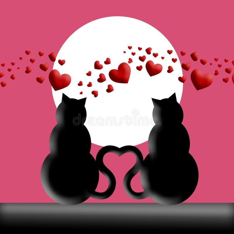 Gatos felices del día de tarjetas del día de San Valentín en silueta del amor ilustración del vector