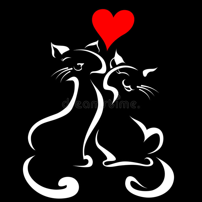 Gatos felices en amor libre illustration
