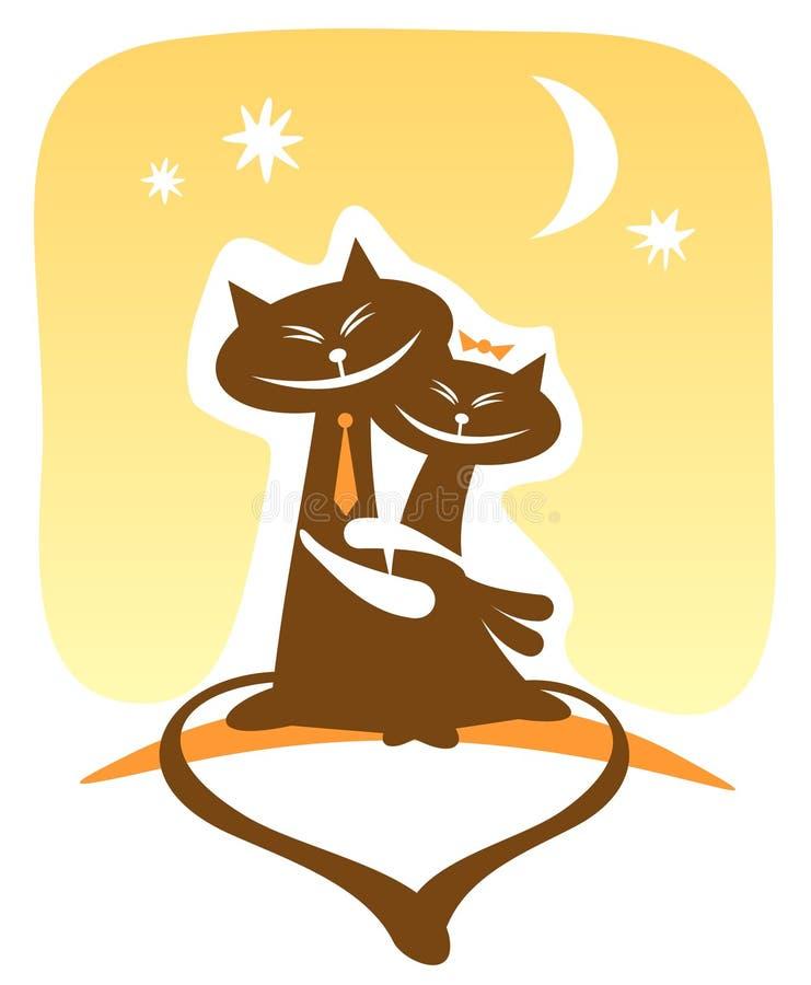 Gatos felizes ilustração do vetor