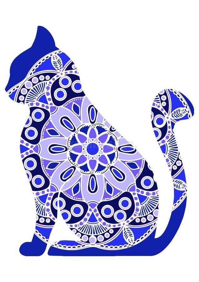 Gatos gráficos engraçados do vetor com ornamento floral ilustração stock