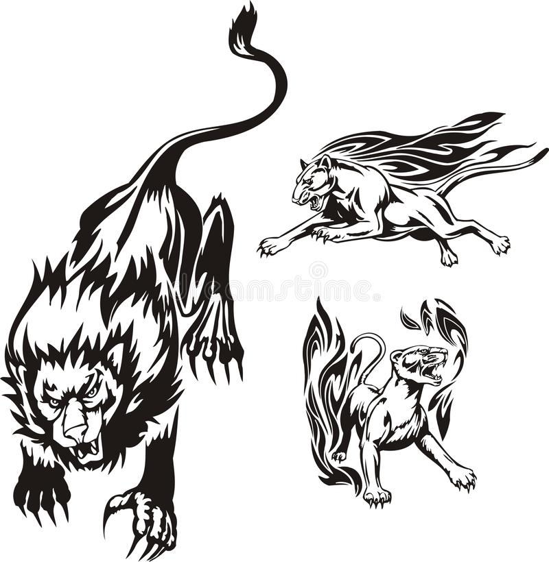 Gatos grandes flamejantes. ilustração stock