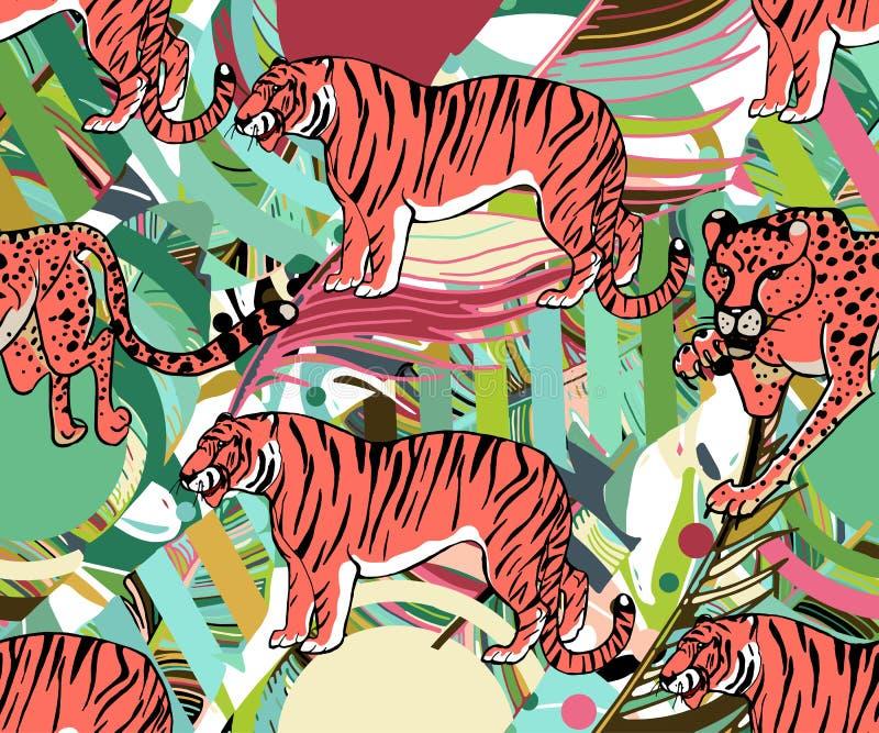 Gatos grandes selvagens Os animais imprimem Fundo tropical do vetor com chita, tigre, leopardo e as plantas tropicais ilustração royalty free