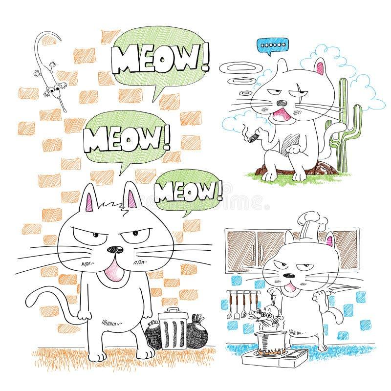 Gatos hand-drawn adoráveis ilustração stock