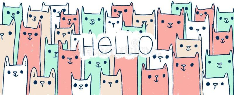 Gatos handdrawn bonitos da ilustração da garatuja com texto OLÁ! fotos de stock
