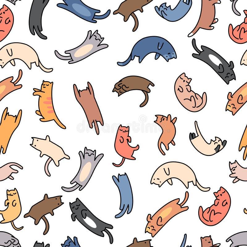Gatos inconsútiles del garabato del modelo en el fondo blanco stock de ilustración
