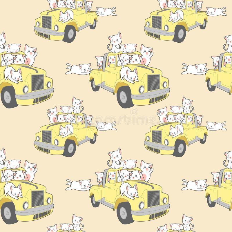 Gatos inconsútiles del kawaii con el coche en modelo de las vacaciones de verano libre illustration