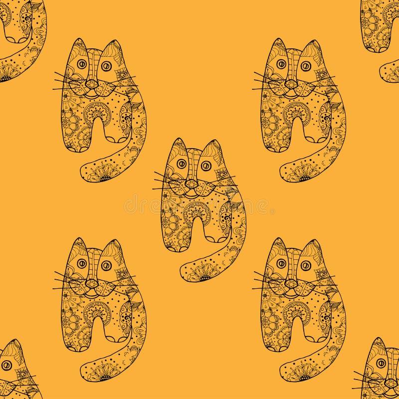 Gatos inconsútiles del od del modelo ilustración del vector