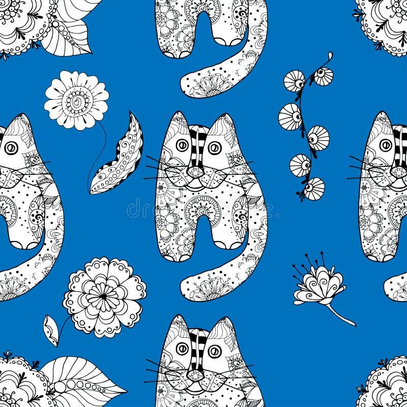 Gatos inconsútiles del od del modelo stock de ilustración