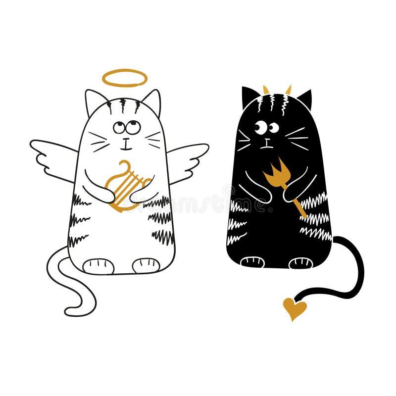 Gatos lindos, ángel y diablo de la historieta stock de ilustración