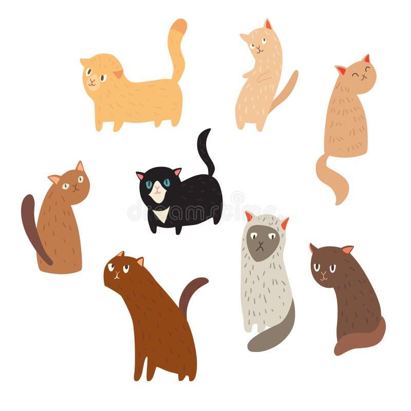 Gatos lindos alegres en los fondos blancos stock de ilustración
