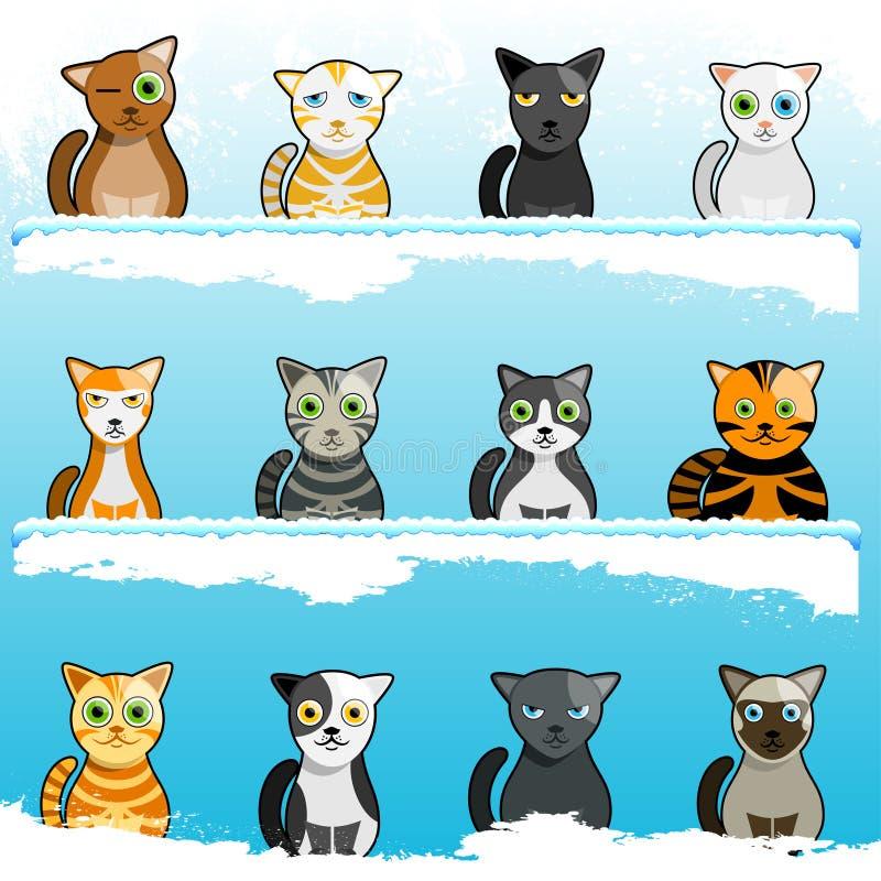 Gatos lindos de la historieta ilustración del vector