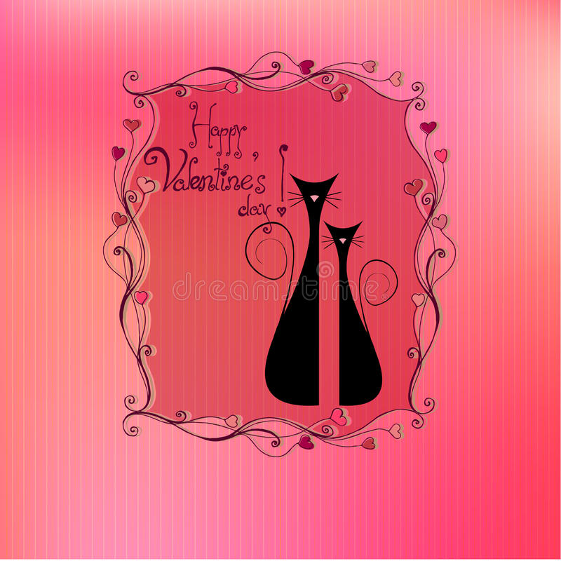 Gatos lindos del día de tarjeta del día de San Valentín ilustrada ilustración del vector