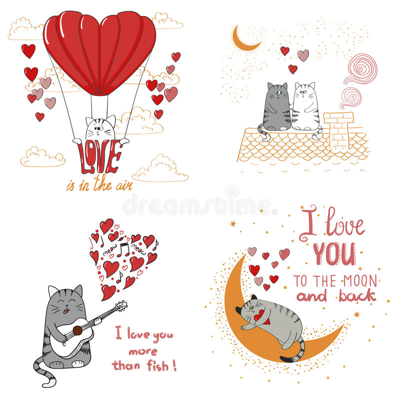 Gatos lindos en amor Conjunto de gatos divertidos de la historieta stock de ilustración