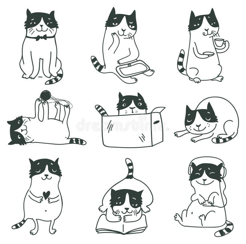 Gatos lindos fijados libre illustration