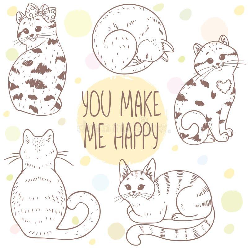 Gatos lindos fijados stock de ilustración