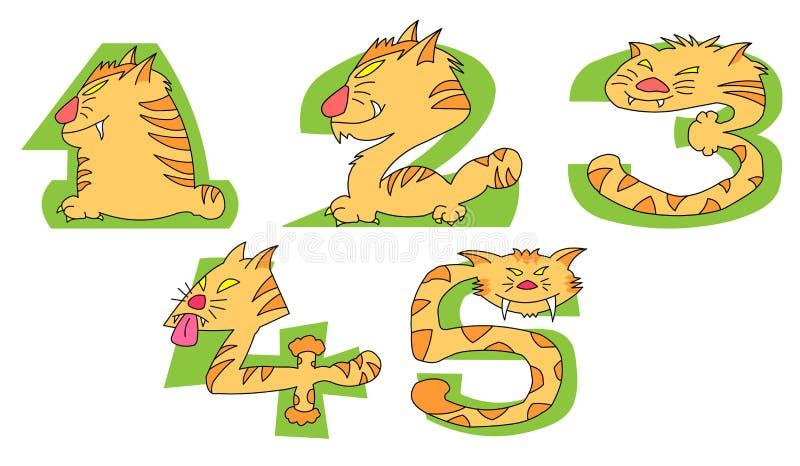 Gatos locos en números verdes: 1 - 5set stock de ilustración