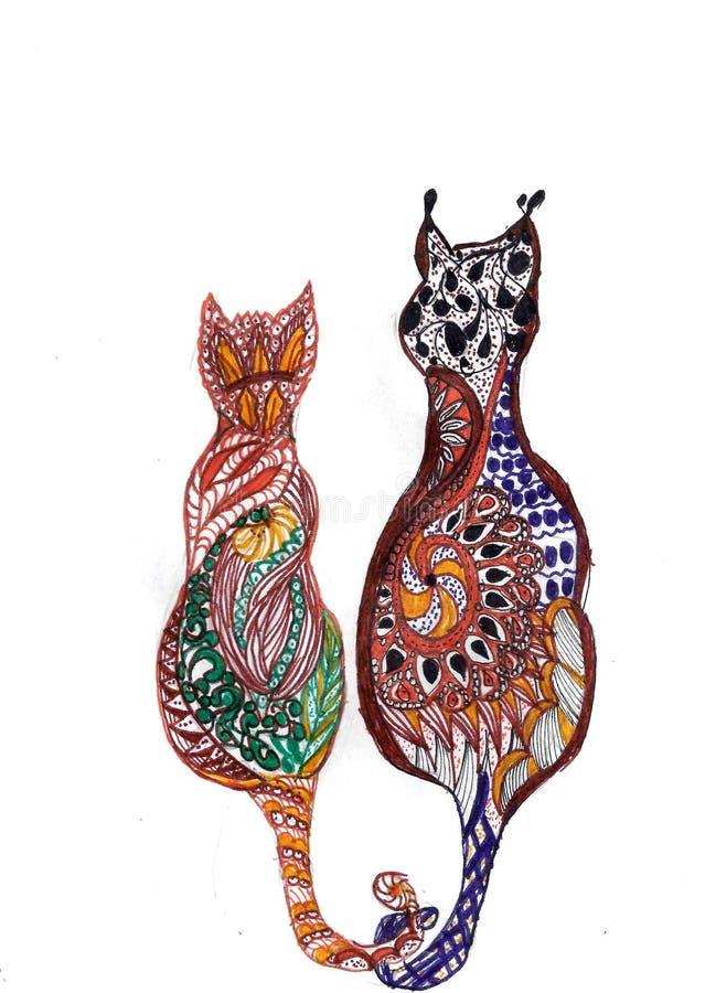 Gatos místicos ilustração royalty free