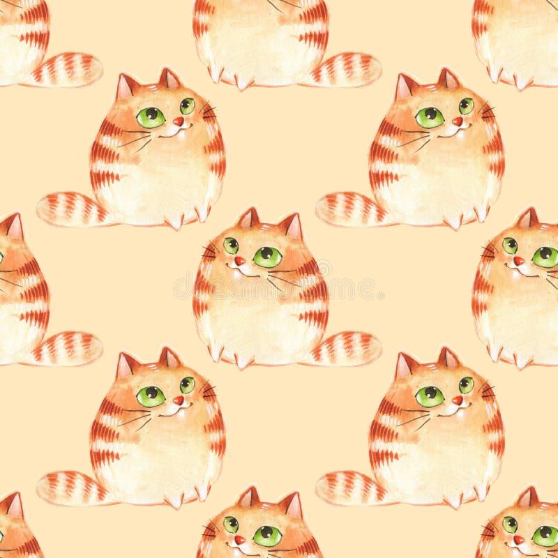 Gatos, modelo inconsútil stock de ilustración
