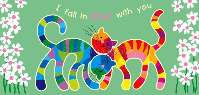 Gatos multicolores en amor libre illustration