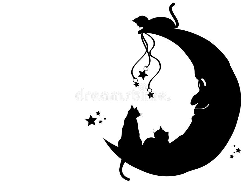 Gatos na lua ilustração royalty free