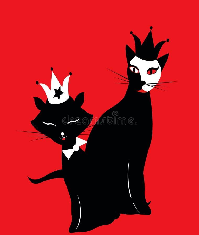 Gatos negros de mirada divertidos en fondo rojo ilustración del vector