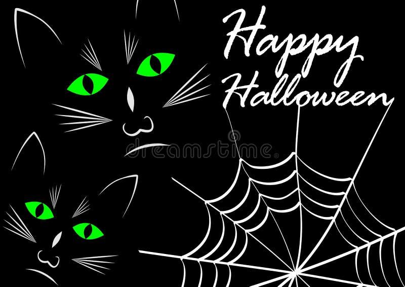 Gatos negros en fondo negro con la telaraña Dibujo blanco con el feliz Halloween blanco del mensaje, ojos de gato verdes que bril libre illustration