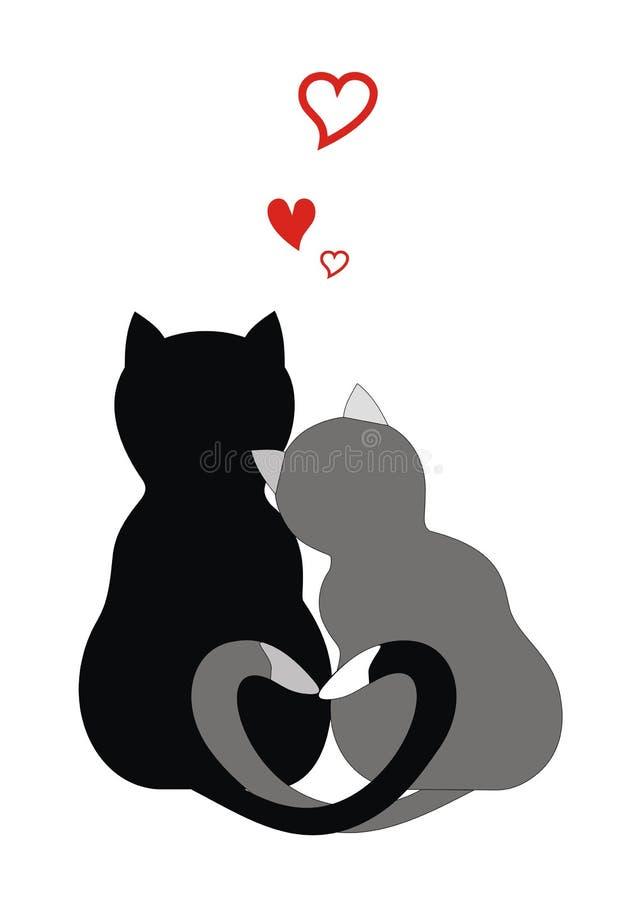 Gatos no amor ilustração royalty free