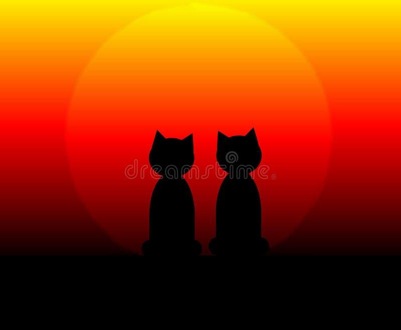 Gatos no por do sol ilustração stock