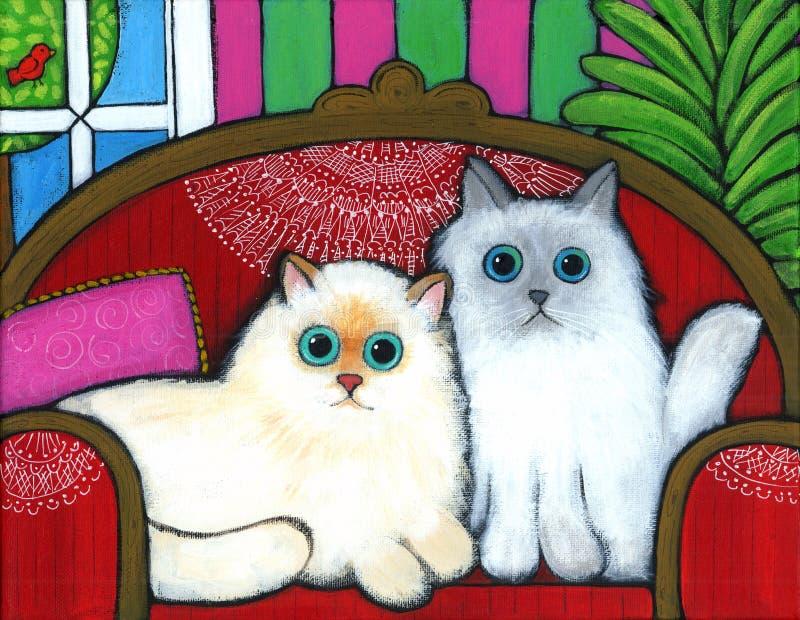Gatos no sofá ilustração royalty free