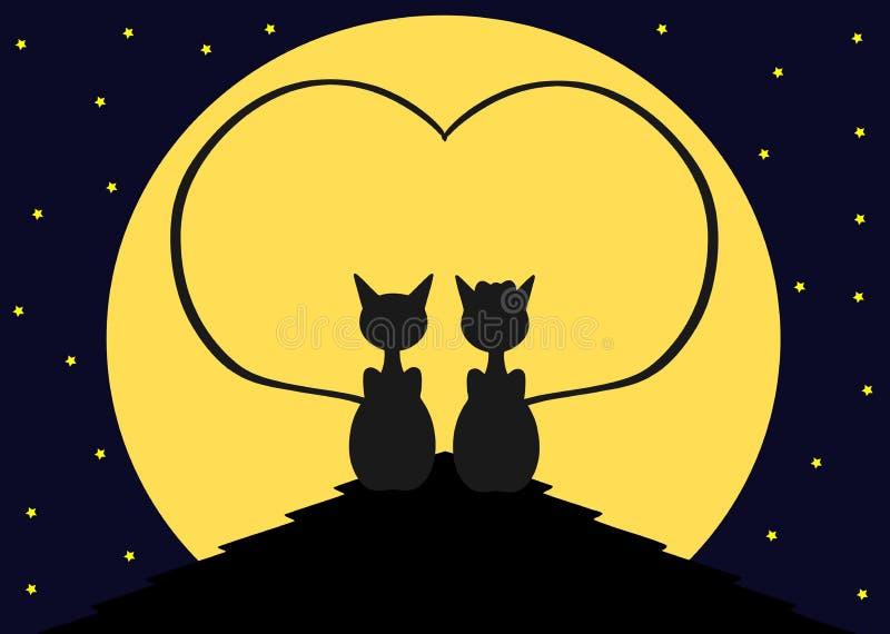 Gatos no telhado ilustração do vetor