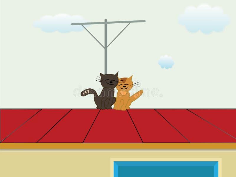 Gatos no telhado imagem de stock