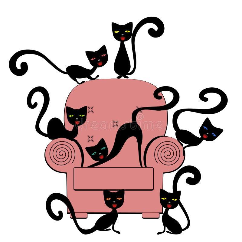 Gatos no treinador ilustração royalty free