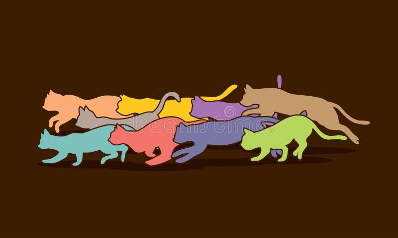 Gatos nove vidas gráficas ilustração stock