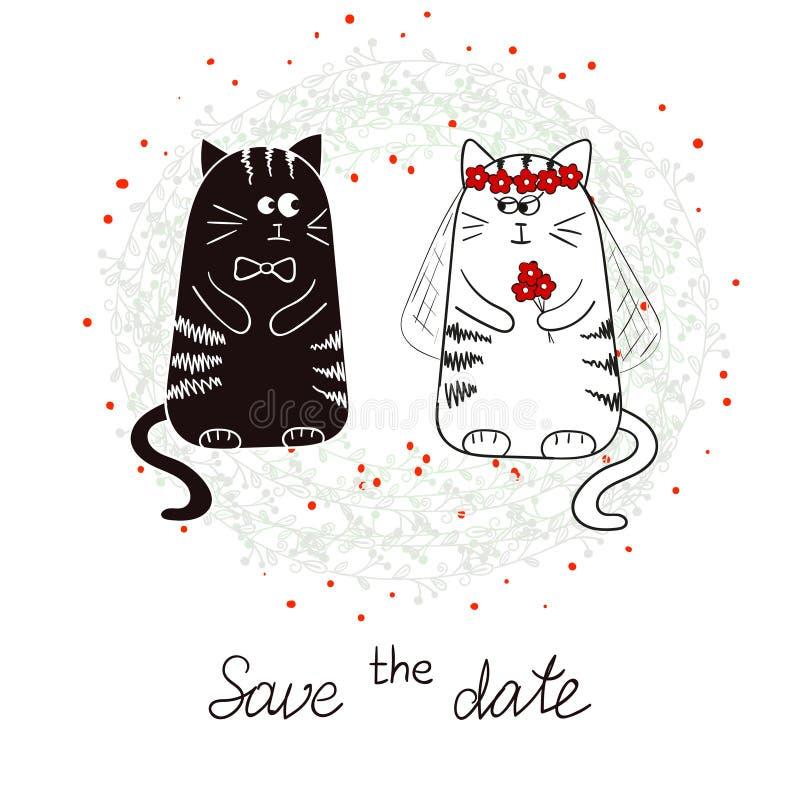 Gatos, novia y novio divertidos Invitación de la boda ilustración del vector