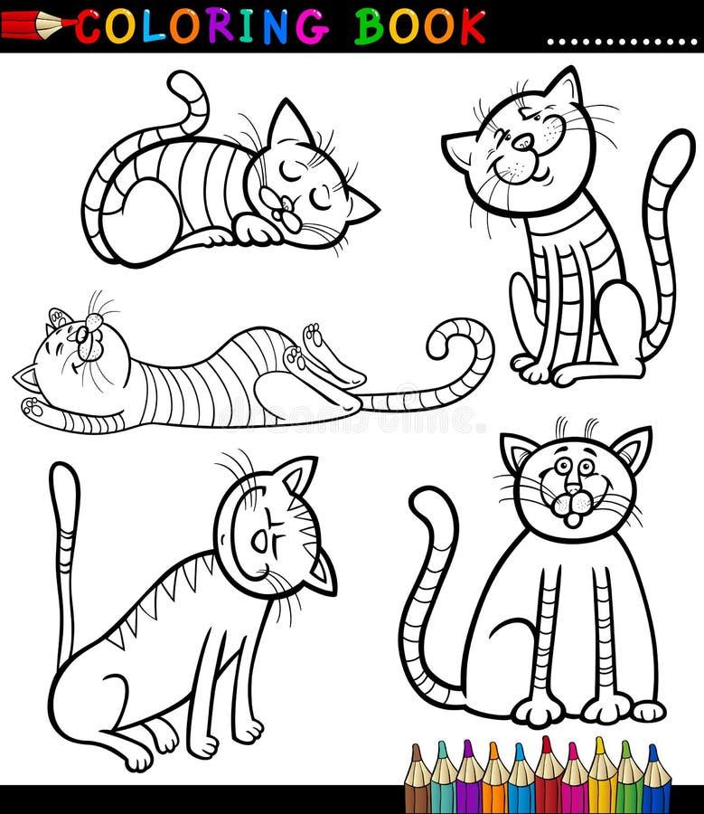 Gatos ou gatinhos dos desenhos animados para o livro de coloração ilustração royalty free