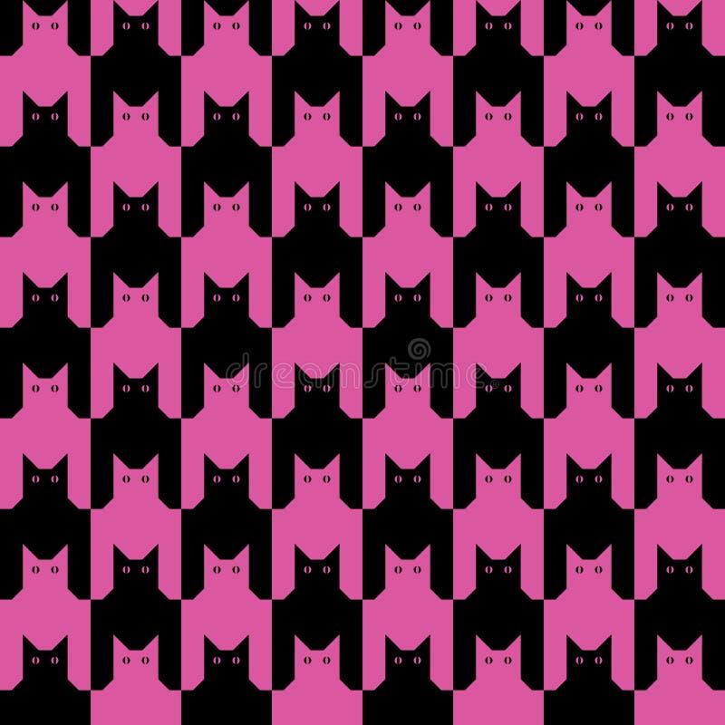 Gatos Pattern_Black-Magenta libre illustration