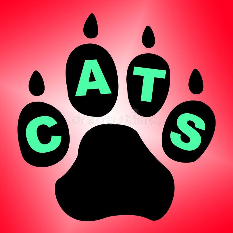 Gatos Paw Shows Pet Services And felino stock de ilustración