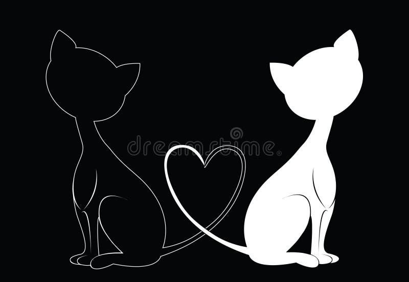 Gatos preto e branco ilustração do vetor