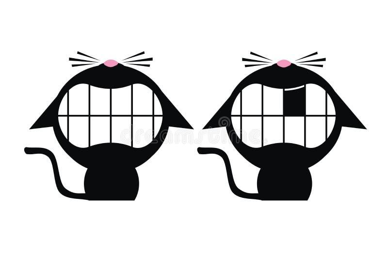 Gatos pretos de sorriso imagens de stock