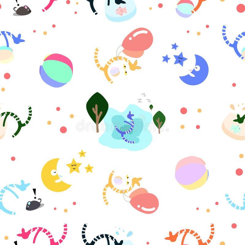 Gatos que jogam o grupo usando-se para o divertimento das crianças e o teste padrão bonito s do papel de parede ilustração stock