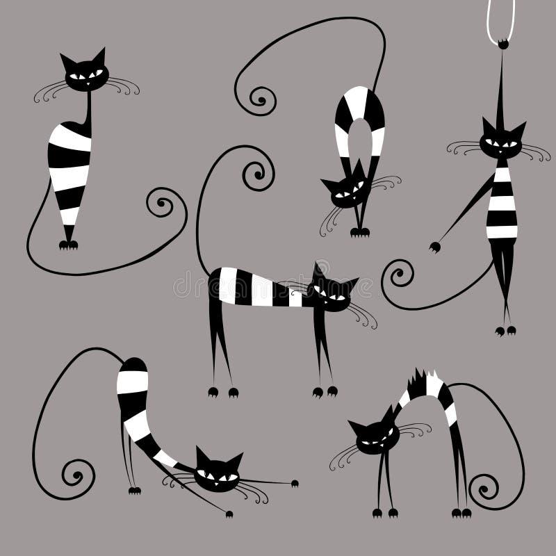 Gatos rayados divertidos, colección para su diseño stock de ilustración