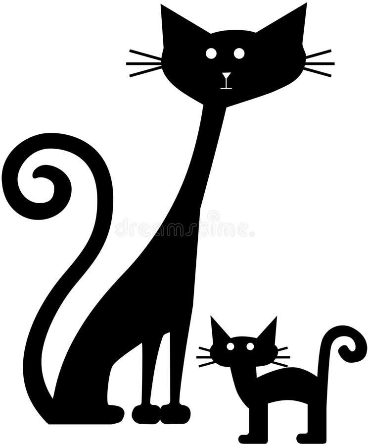 Gatos retros ilustración del vector