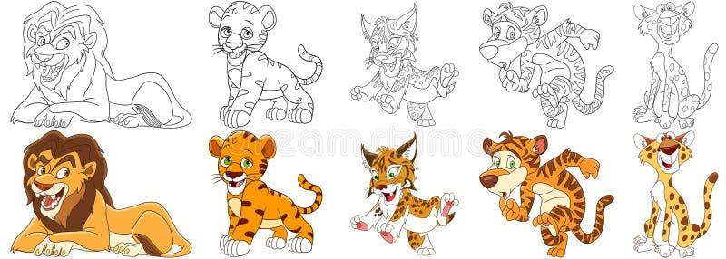 Gatos selvagens dos desenhos animados ajustados ilustração royalty free