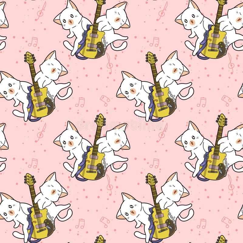 Gatos sem emenda do kawaii e o teste padrão da guitarra foto de stock
