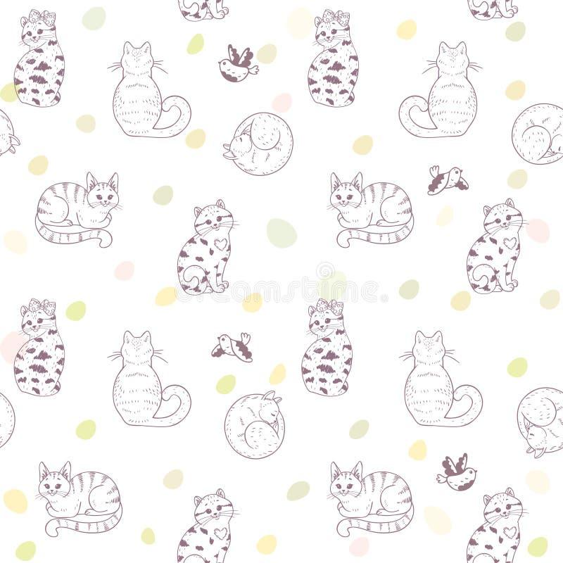Gatos sem emenda do teste padrão ilustração stock