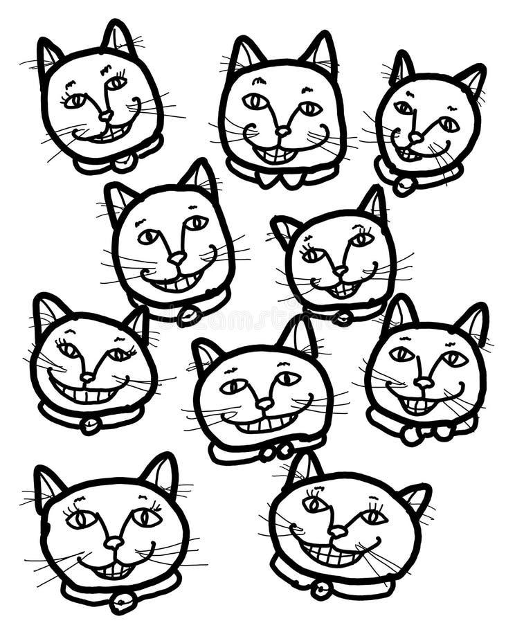 Gatos sonrientes alegres felices ilustración del vector