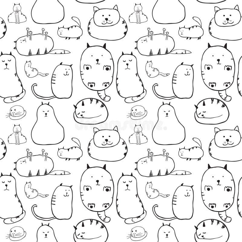 Gatos. Textura sem emenda ilustração royalty free