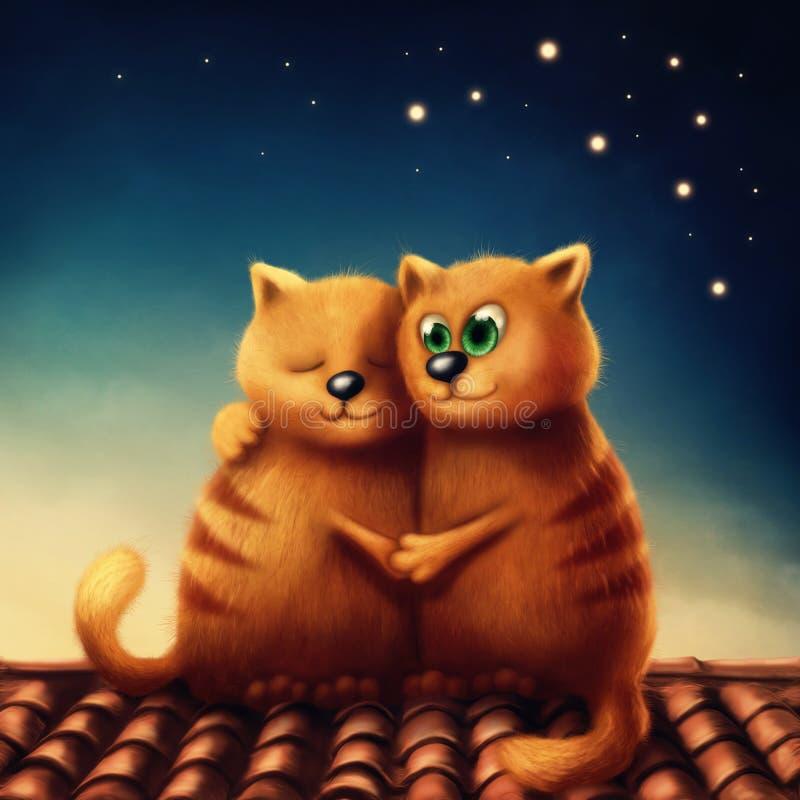 Gatos vermelhos no amor ilustração do vetor