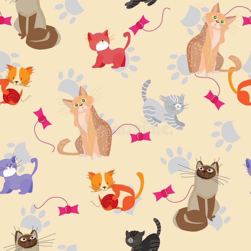 Gatos y gatitos lindos, modelo inconsútil con los animales domésticos juguetones y animales queridos, ejemplo del vector stock de ilustración