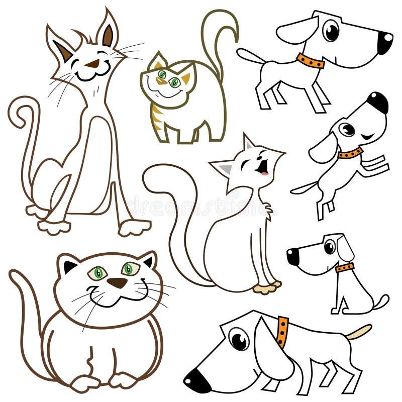 Gatos y perros de la historieta stock de ilustración